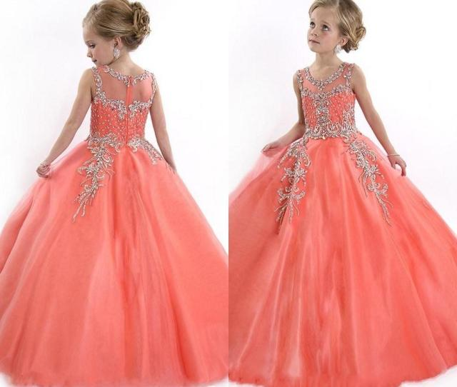 Peach Girls Pageant Dresses For Teens Cute Cupcake Tulle Floor Length Dresses For Kids Formal Long Beaded Pageant Gowns For Girls Pageant Dress For