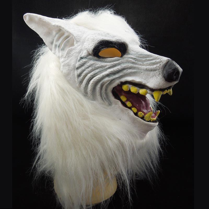 New White Wolf Mask Animal Head Costume Latex Halloween