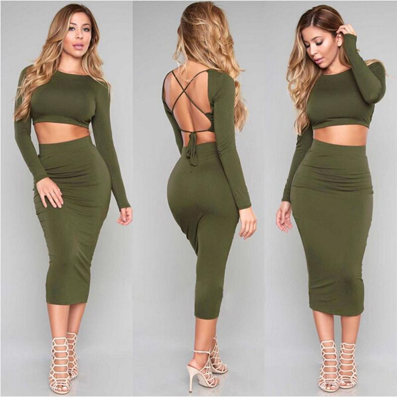 2017 Tob New 2015 Women Two Piece Outfits Sexy Backless Set Slash ...