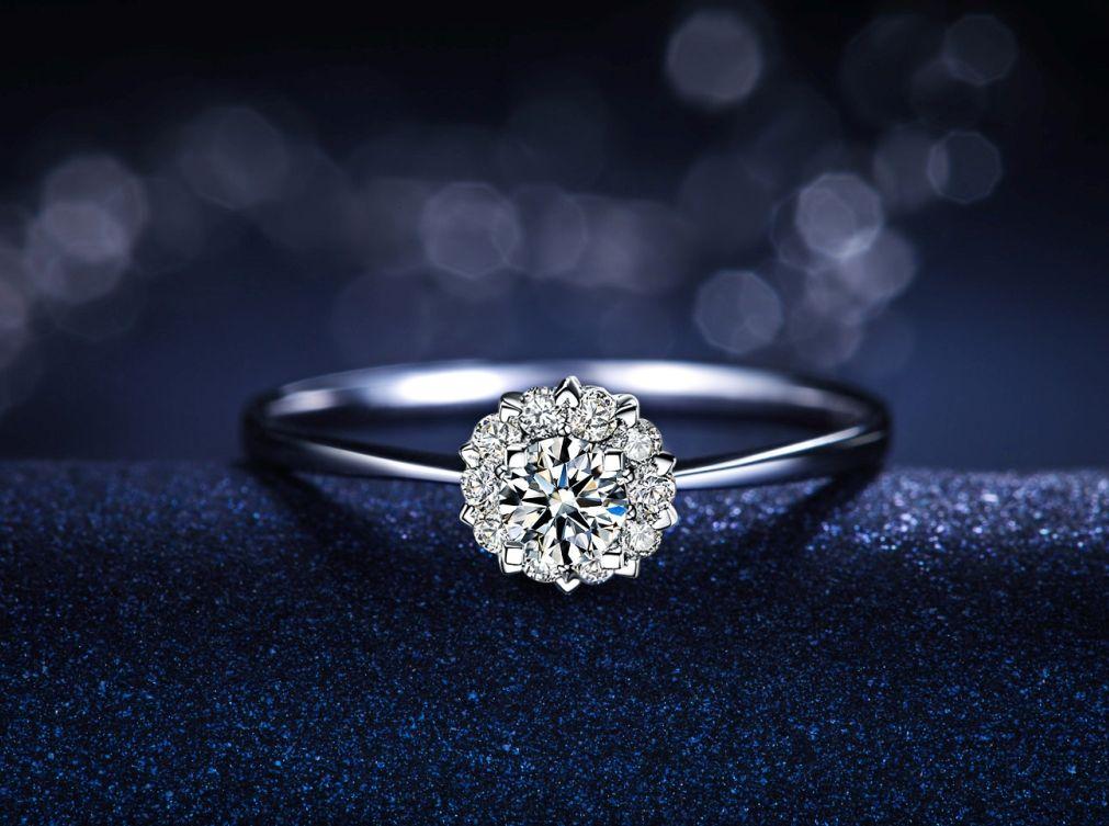Heart Jewelry Real Diamond Rings Fashion Design 18K White