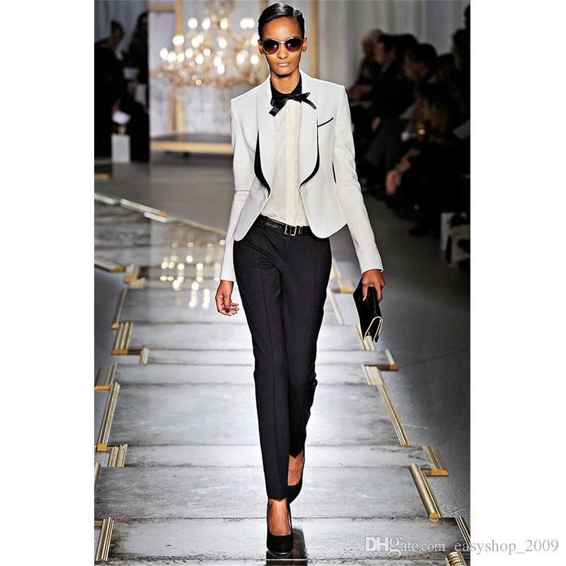 2019 Spring Womens Business Suits Black White Office