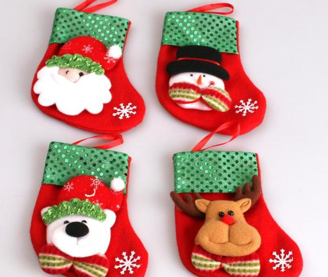 Santa Claus Gift Sequins Snowman Old Man Bear Reindeer Christmas Socks With Small Pocket Christmas Decoration Cheap Xmas Decorations Online Christmas