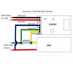 2019 Digital Ammeter Voltmeter YB27VA DC 0 100V50A 2 In 1 Digital Volt Amp LED Dual Color