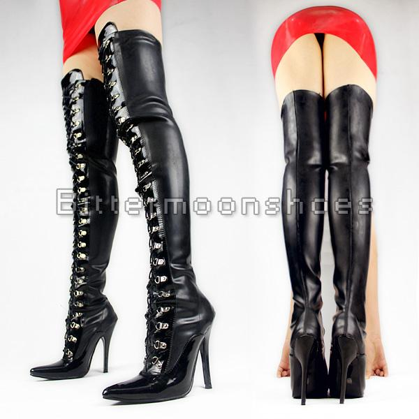 Wonderheel Extreme High Heel 12cm Stiletto Heel Womens Thigh High Men Size Black Lace Up Latex Sex Fetish Crotch Boots Dropshipping Rain Boots Mens Shoes