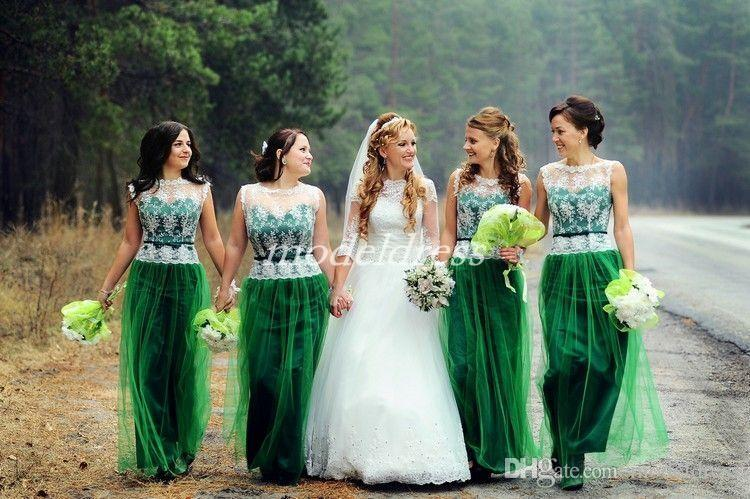 Emerald Green Bridesmaid Dresses 2019 See Through Floor