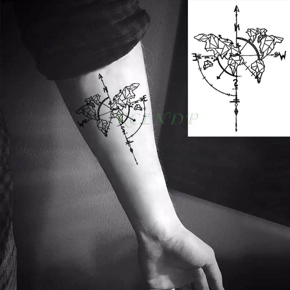 водонепроницаемый временные татуировки наклейки компас вспышки татуировки
