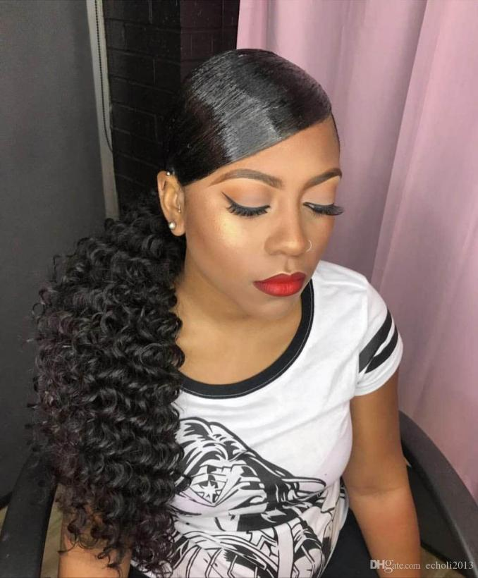 fashion curly ponytail hairstyle deep wave drawstring ponytail hairpiece 100g-160g clip in brazilian hair ponytail extension 1b natural blac