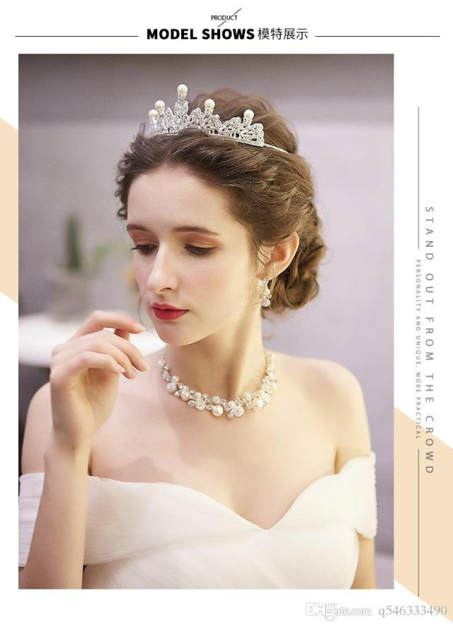 bride crown tiara three-piece 2019 new korean wedding necklace white wedding dress jewelry wedding hair accessories