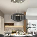 Luxury Modern Smoky Gray Crystal Chandelier Lighting For Dining Room Living Room Black Chandelier Light Fixtures Lustres De Teto Plug In Hanging Lamps