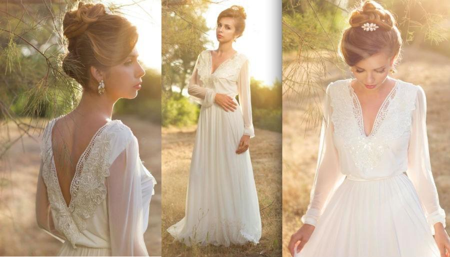 Discount Simple Long Sleeve Boho Wedding Dresses Deep V