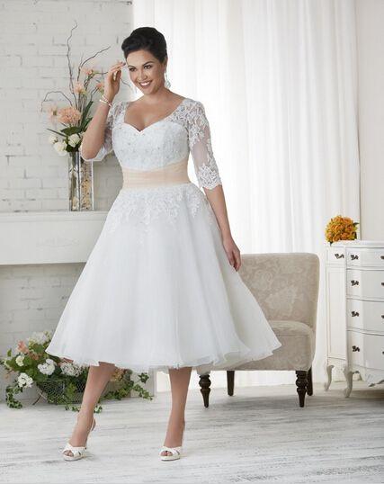 2015 short plus size wedding dresses custom made v neck matched sash applique a line tea length half sleeve lace vintage bridal gowns w1701 wedding dresses