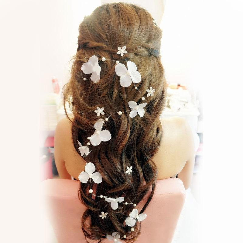 stock 2015 bridal hair accessories handmade butterfly flower headwear bridal headband wedding jewelry pearl bridal hair piece hair flower accessories hair