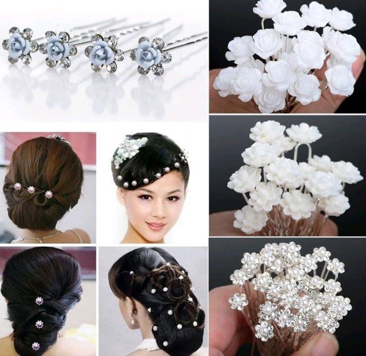 type hair pin material alloy metal acrylic colours randomly send qantity 40 pcs wedding bridal pearl hair pins flower