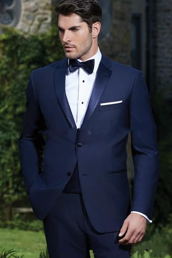 custom made two buttons navy blue groom tuxedos notch lapel groomsmen mens wedding dress clothing prom suitsq80 tuxedos groom tuxedos grooms suits online