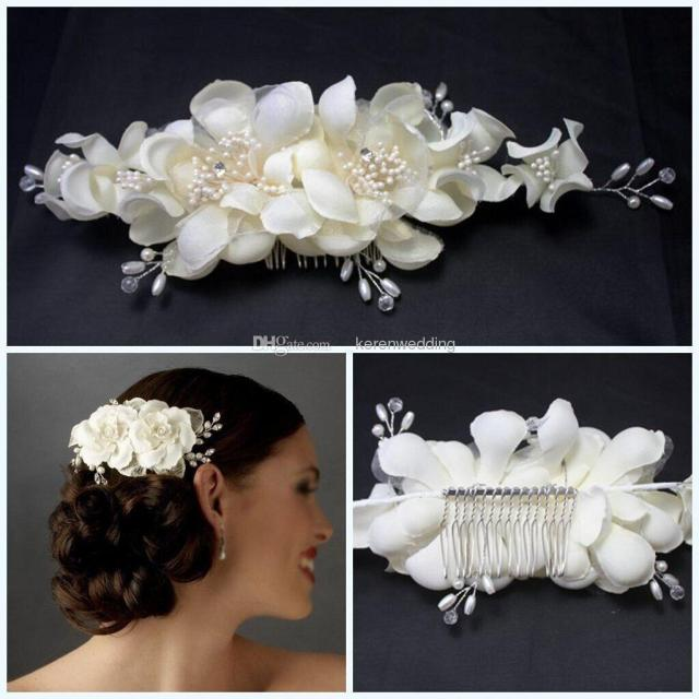 graceful bridal tiaras with comb pearls headband hair flowers ivory silk wedding hair accessories for bride high quality 2015 cheap cgl408