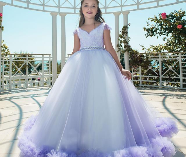Beautiful Teens Girls Pageant Dresses With Lace Full Length Toddler Gown For Children With Sash Beaded Lavender Flower Girl Dress Flower Girl Dresses Sydney