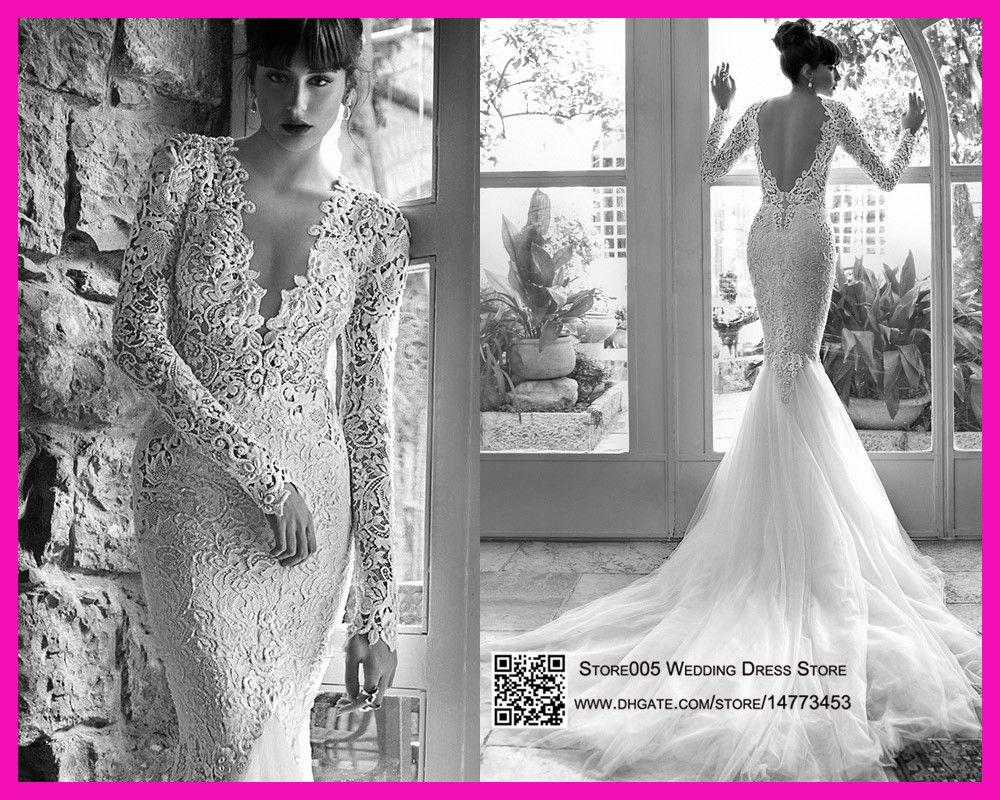 2015 Sexy Russian Wedding Dresses Mermaid Long Sleeves V