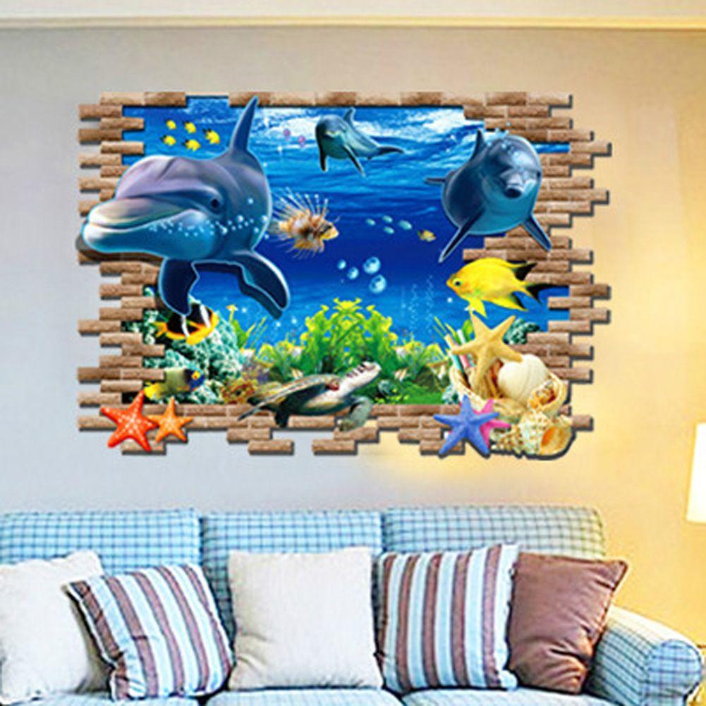 3d sea world wall stickers submarine world decorative wall decal cartoon  wallpaper kids party decoration christmas wall art
