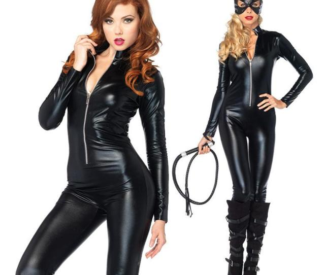 Catwoman Costumes Adult Leather Lingerie Sexy Steampunk Full Rubber Bodysuit Sexy Lingerie Hot Latex Catsuit Costume Zipper