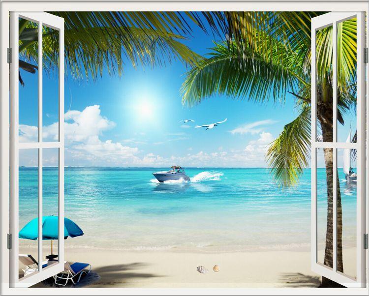 Window 3D Beach Seascape View Wall Stickers Art Mural