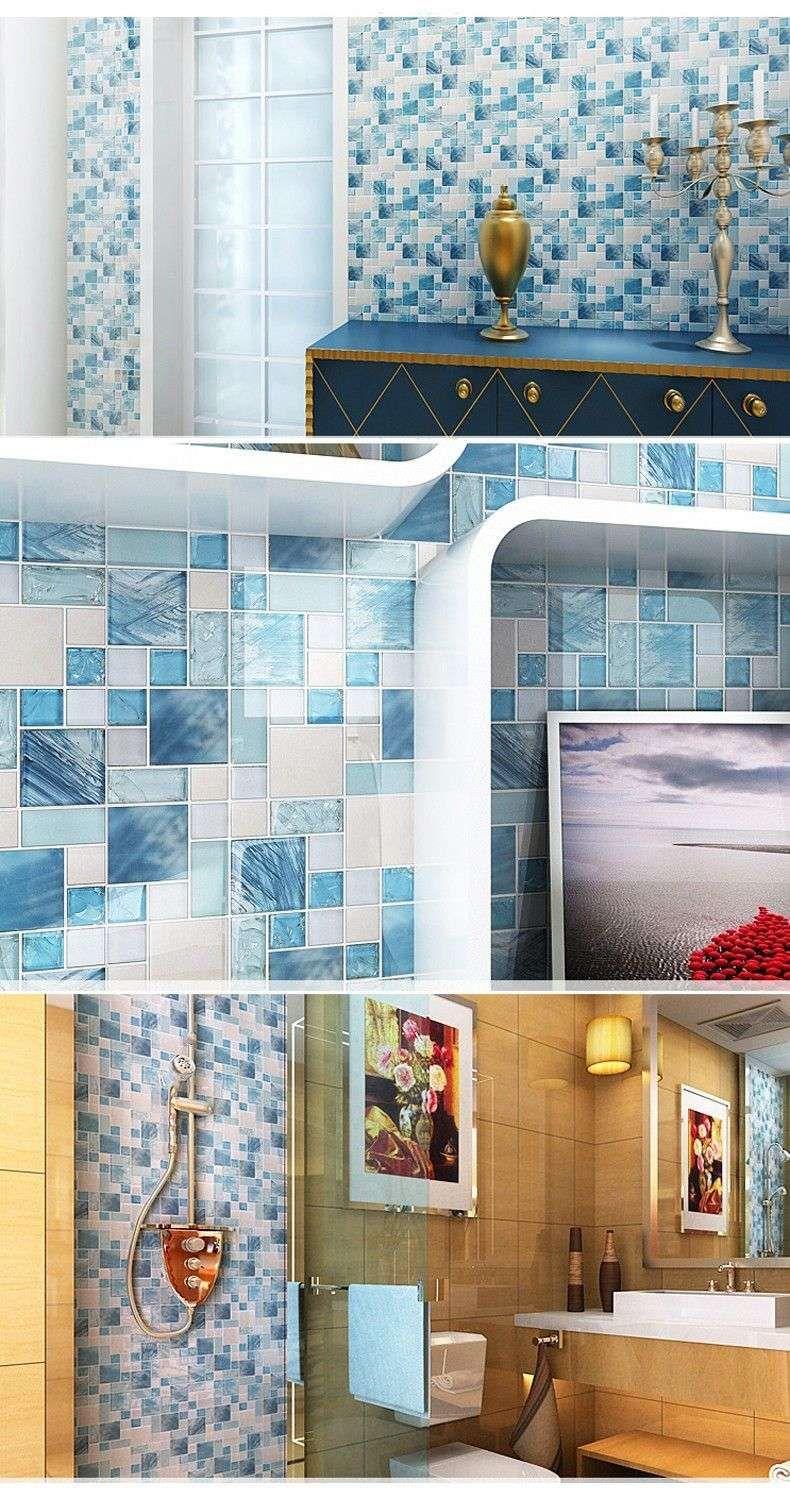 2018 Modern Sale 11sheetsBlue Sea Glass Kitchen Tiles