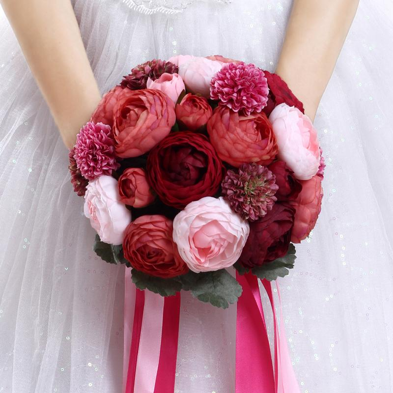 Peony Holding Flowers Burgundy Pink Bridal Dresses Wedding Bouquets     Peony Holding Flowers Burgundy Pink Bridal Dresses Wedding Bouquets Rose  Bridal Bridesmaid Decoration Supplies Bussiness Metting Flower ZYY Wedding  Flower