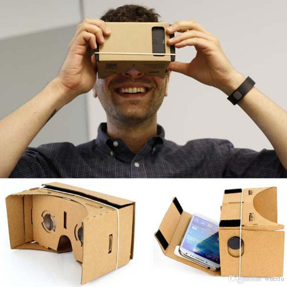 "Resultado de imagen de High quality DIY Magnet Google Cardboard Virtual Reality VR Mobile Phone 3D Viewing Glasses For 5.0"" Screen Google VR 3D Glasses"
