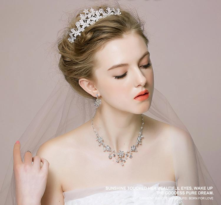 2015 wedding tiaras necklace earrings jewelry sets crystal romantic wedding accessories new arrival wedding hair crown bridal accessories wedding tiaras