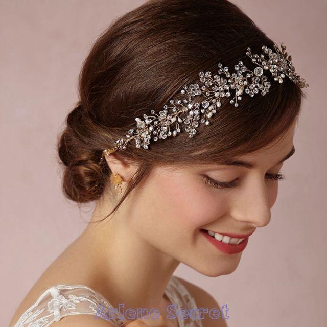 2015 romantic bridal tiaras for wedding hair accessories crystal rhinestone beaded swarovski romantic pearls headpiece quinceanera tc0009