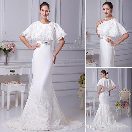 2018 Real Photos Elegant Charming Mermaid Wedding Dress Satin Lace     2018 Real Photos Elegant Charming Mermaid Wedding Dress Satin Lace Beaded  Bat Sleeve Bridal Wedding Gown Court Train Wedding Dresses With Color  Accents