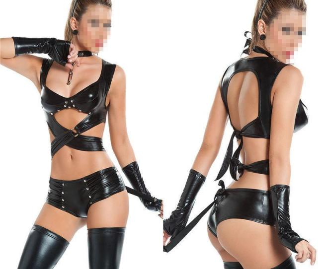 New Adult Faux Leather Lingerie Black Red Sexy Rivet Costume  Sizes Catwomen Full Length
