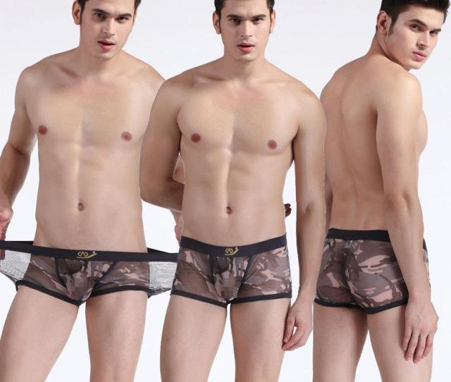 Sexy Sheer Panties See Through Gay Camouflage Mesh Printed Gauze Mens Breathable Camouflage Mesh Boxers Underwear