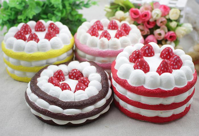 Besegad Kawaii Strawberry Cake Shape Cream Scented Squishy Slow