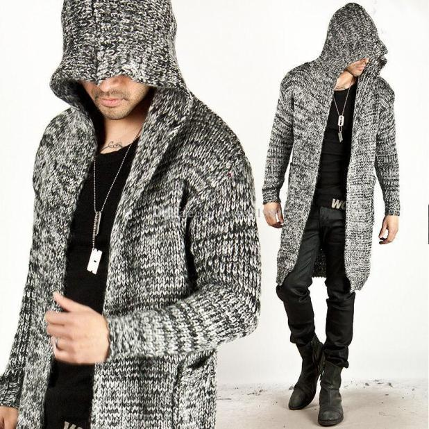 2019 Trendy Fashion Mens Warm Sweaters Cardigan Hooded Knitted Long 379bd4d30