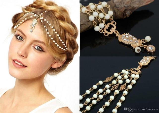 2017 bohemian wedding bridal hair accessories chains for women boho metal beaded pearl head chain indian hair jewelry women bridal crown