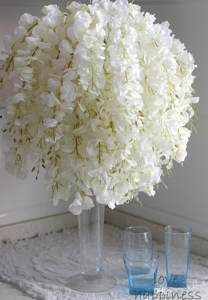 Online Cheap Diy Artificial White Wisteria Silk Flower For