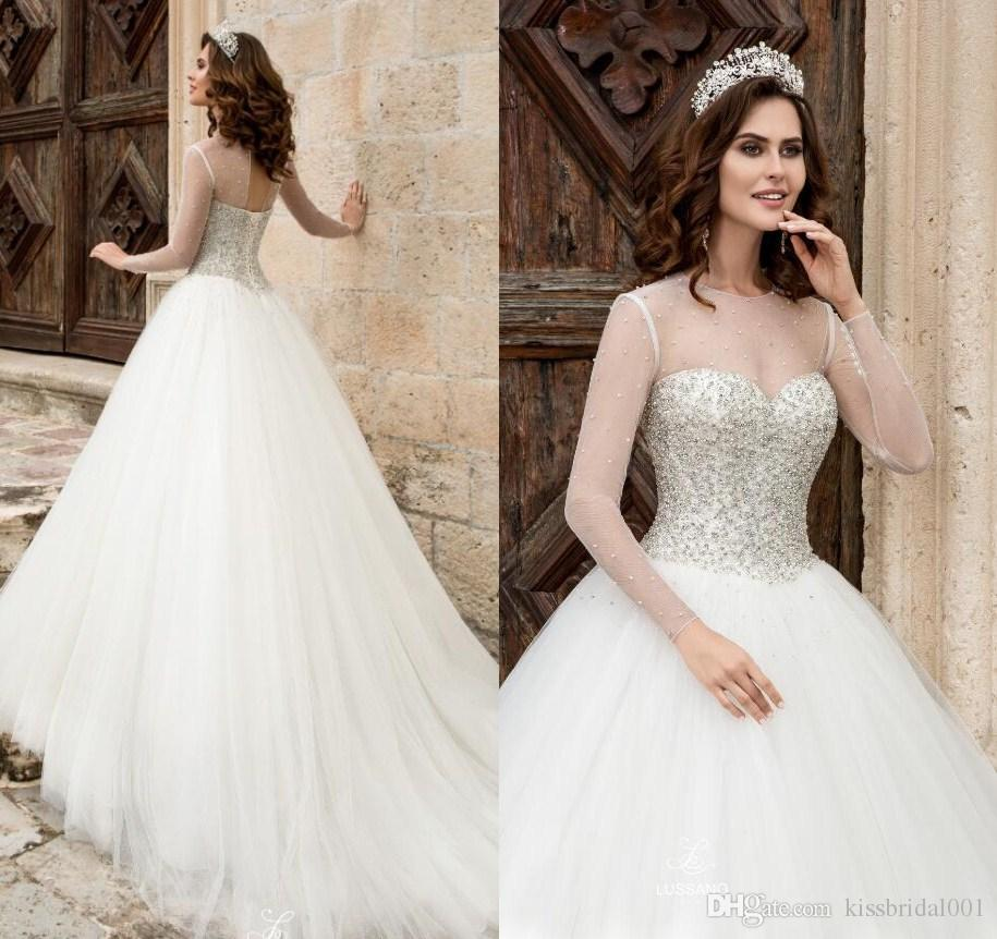 princess ball gown 2018 crystal wedding dresses pure ivory long sleeves key hole lace up pearls bodic arabic bridal gowns weddingdress western wedding