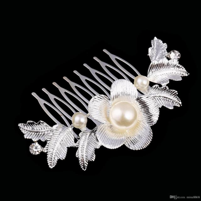 beautiful floral wedding tiara sparkling silver plated austrian crystal pearl bridal hair combs hair jewelry hair accessories dhf008