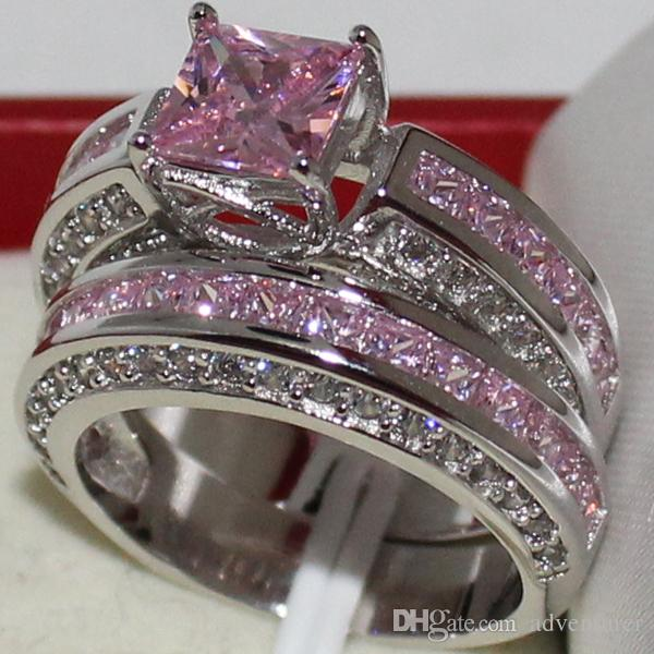 Eternity Ladys 925 Sterling Silver Square Simulated Pink