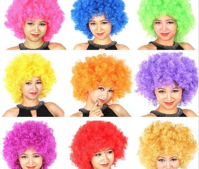 Halloween Disco Curly Wig Rainbow Afro Wigs Clown Child Adult Costume Football Fan Wig Hair Fan Fun Male Cosplay Costumes Lightning Cosplay Wig From