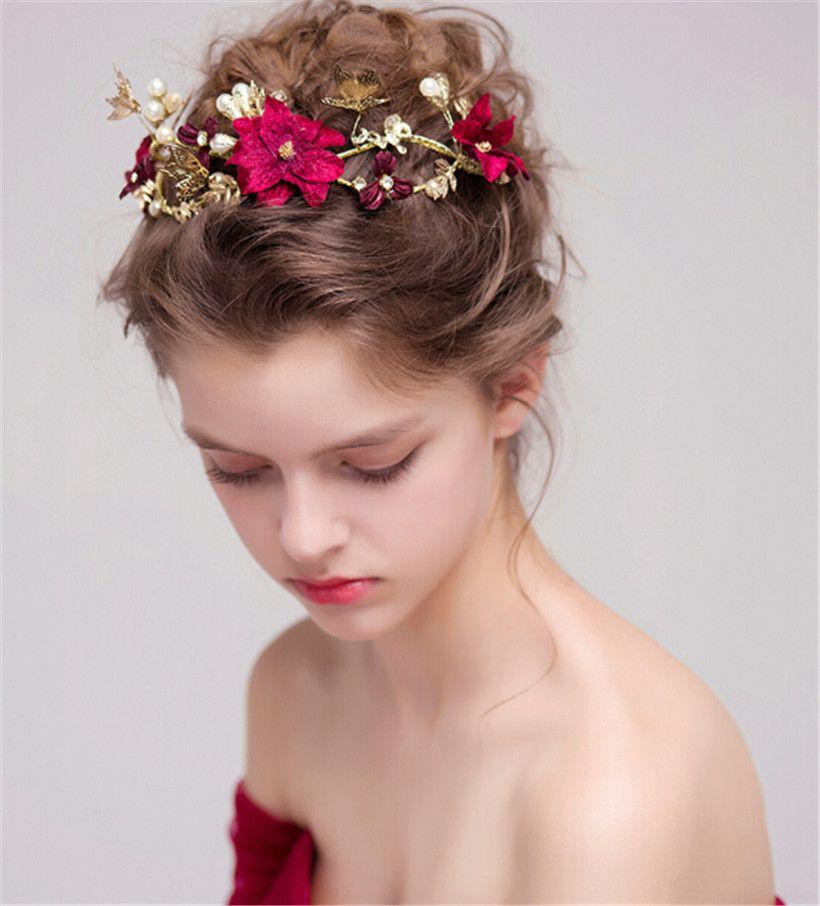 vintage wedding bridal tiara burgundy flower crown headband rhinestone hair accessories jewelry headpiece jewelry rose party headdress band hair fashion