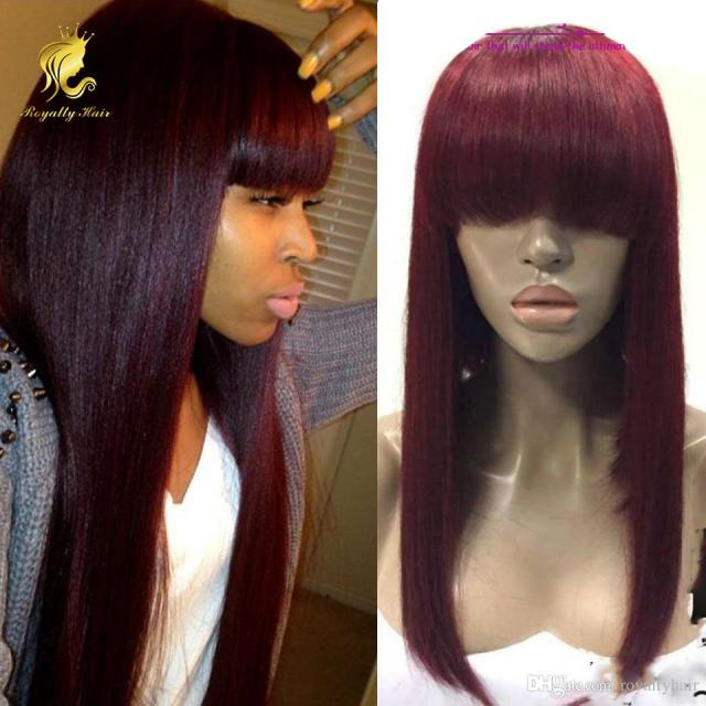 fashion color 99j dark red human hair lace front wigs with chinese bangs glueless brazilian human hair full lace wigs