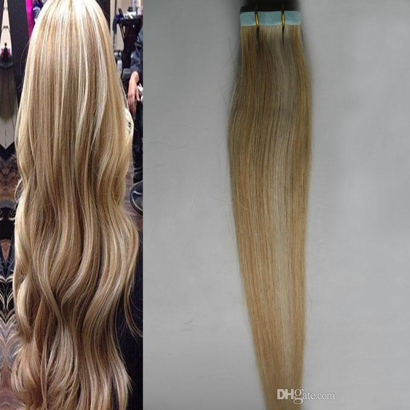 Piano Color 27613 Blonde Human Hair Tape Extensions Remy