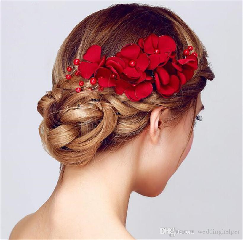 vintage wedding bridal hair flower comb red rose headpiece hair accessories clip jewelry hair pins princess queen wholesale headdress hairstyle for brides