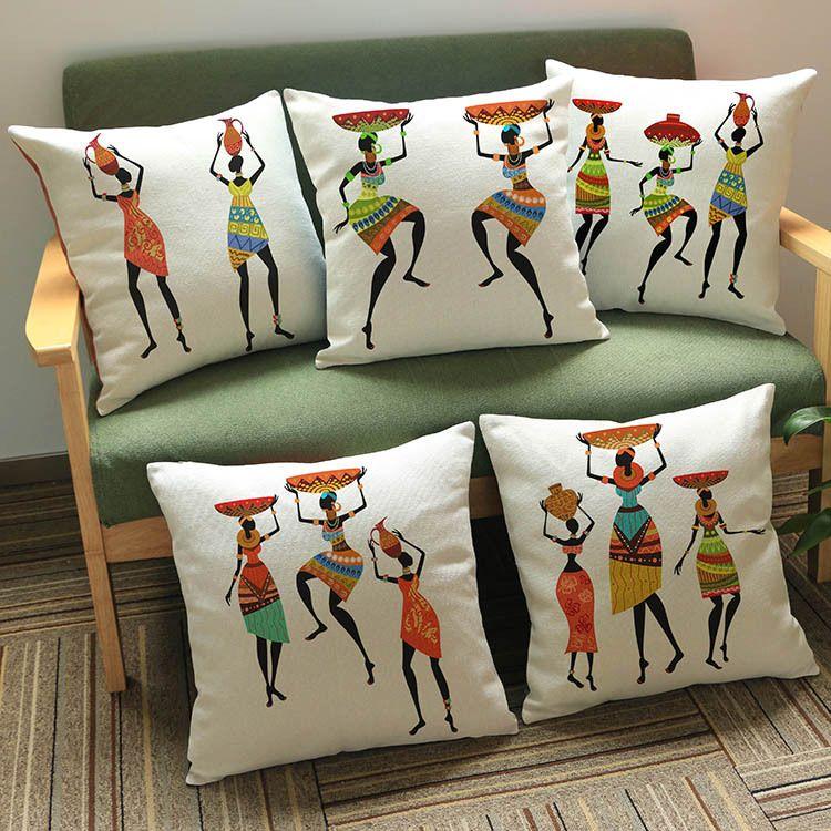 acheter 9 styles couleur peinture femme africaine danse coussin couvre l afrique costume culture art taie d oreiller decorative lin beige taie d oreiller de