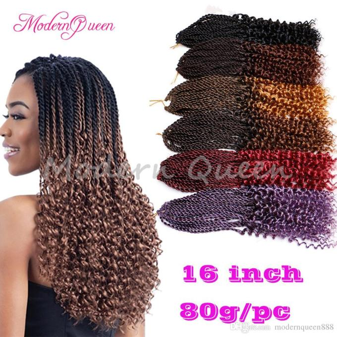 cheap 16inch pre flashy curly senegalese twist crochet braids hair extensions ombre kanekalon synthetic braiding hair for black women