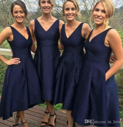 Short Navy Bridesmaid Dresses V Neck Straps Satin A Line Tea Length     Short Navy Bridesmaid Dresses V Neck Straps Satin A Line Tea Length 2017  Hot Selling Girls Party Gowns Custom Size Plum Bridesmaid Dresses Unique  Bridesmaid