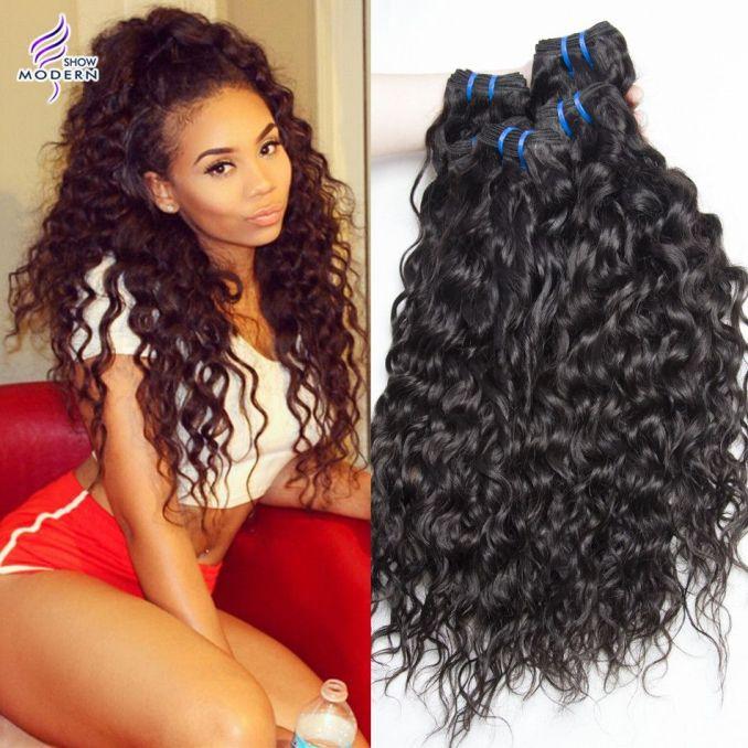 brazilian virgin hair water wave 3 bundles wet and wavy unprocessed human hair extensions brazilian loose curly hair weaves natural black