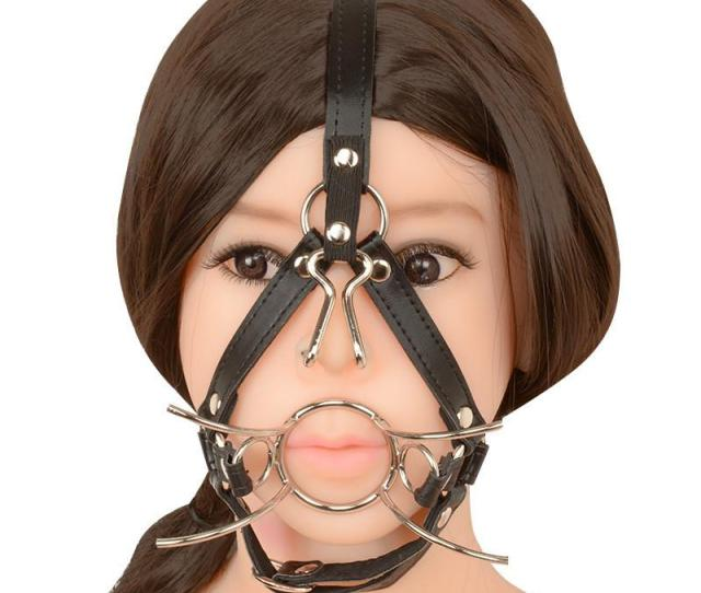 Spider Shape Metal Mouth Ring Open Gag Ball Gag With Nose Hook Bdsm Toys Sex Mouth Plug Full Head Harness Sex Adults Toy  Free Kids Games Free Online