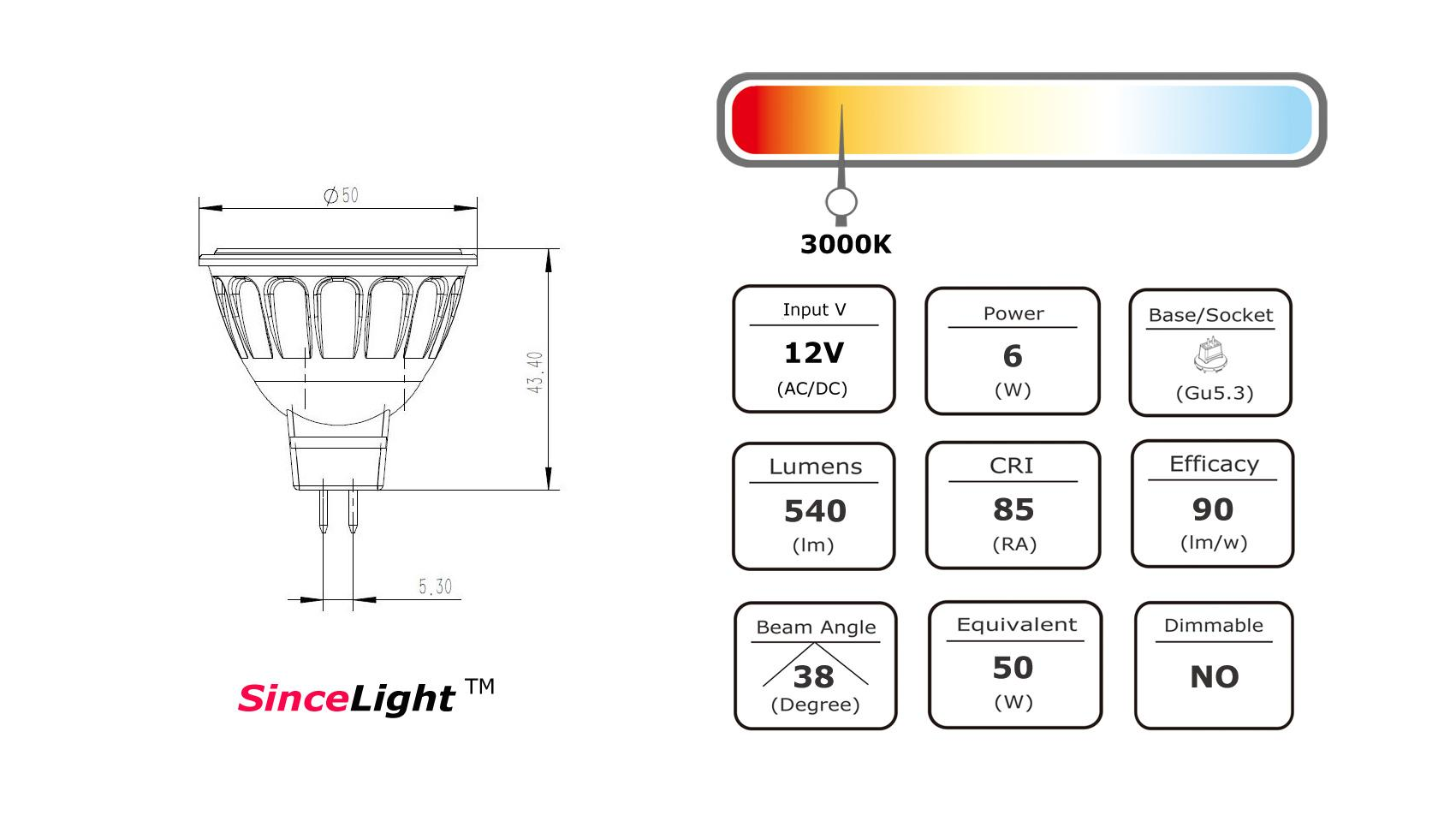 Led Mr16 12vac 12vdc 6w Spot Light Bulb 540lm Gu5 3